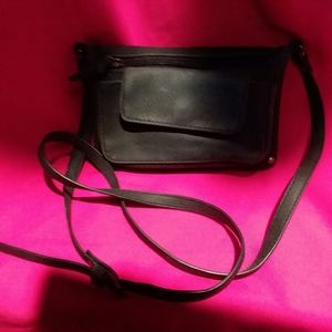 Black Marbled Leather Crossbody Wallet Purse